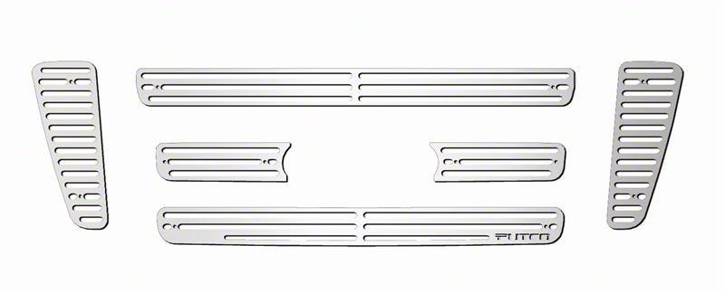 Putco Liquid Billet 6-Piece Upper Overlay Grille w/ Emblem Cutout - Polished (04-08 F-150 STX, FX4, King Ranch)