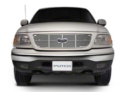 Putco Liquid Billet Upper Overlay Grille w/ Emblem Cutout - Polished (97-98 F-150 w/ OE Honeycomb Style Grille)