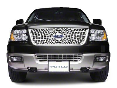 Liquid Spider Web Upper Overlay Grille w/ Emblem Cutout - Polished (99-03 F-150 w/ OE Bar Style Grille)