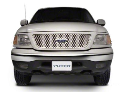 Punch Stainless Steel Upper Overlay Grille w/ Emblem Cutout - Polished (97-98 F-150 w/ OE Honeycomb Style Grille)
