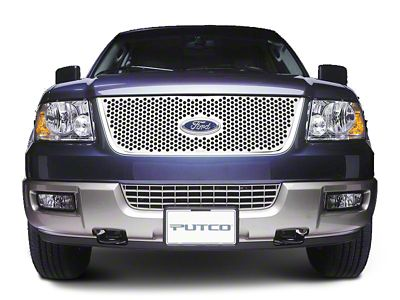 Putco Punch Stainless Steel Upper Overlay Grille w/ Emblem Cutout - Polished (99-03 F-150 w/ OE Bar Style Grille)