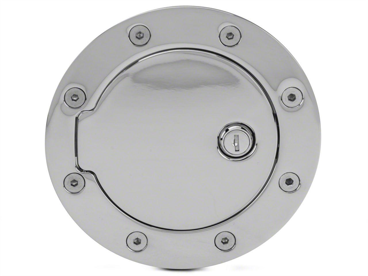 Modern Billet Race Style Billet Locking Fuel Door - Chrome (97-03 F-150)