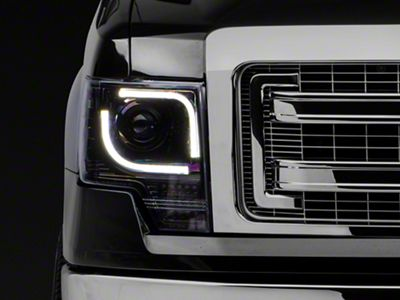 Recon Projector Headlights w/ High Power Amber Lens - Smoked Lens (13-14 F-150 w/ Factory Projectors/HIDs)
