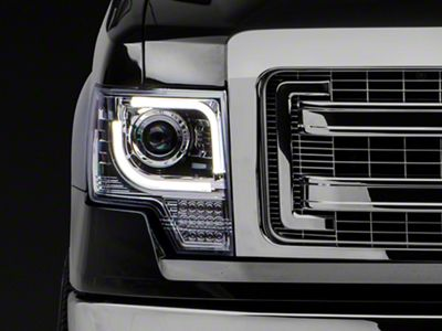 Recon Projector Headlights w/ High Power Amber Lens - Clear Lens (13-14 F-150 w/ Factory Projectors/HIDs)