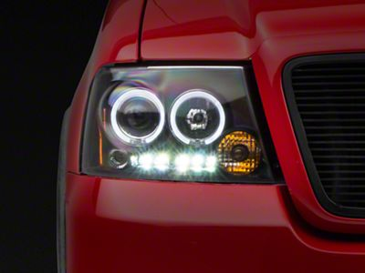 Axial Black Dual Halo LED Projector Headlights (04-08 F-150)