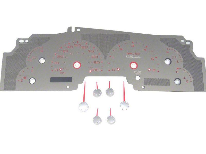 US Speedo Stainless Steel Gauge Face Kit - Red (99-03 F-150)