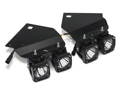 Vision X 4 in. Square LED Lights w/ Fog Light Mounting Brackets (10-14 F-150 Raptor)