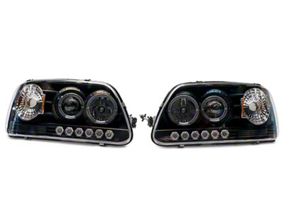 Axial Black Projector Headlights with Halo & Corner Lights (97-03 F-150)