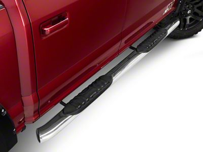 Barricade 5 in. Oval 60 Degree Bent End Side Step Bars - Stainless Steel (15-19 F-150)