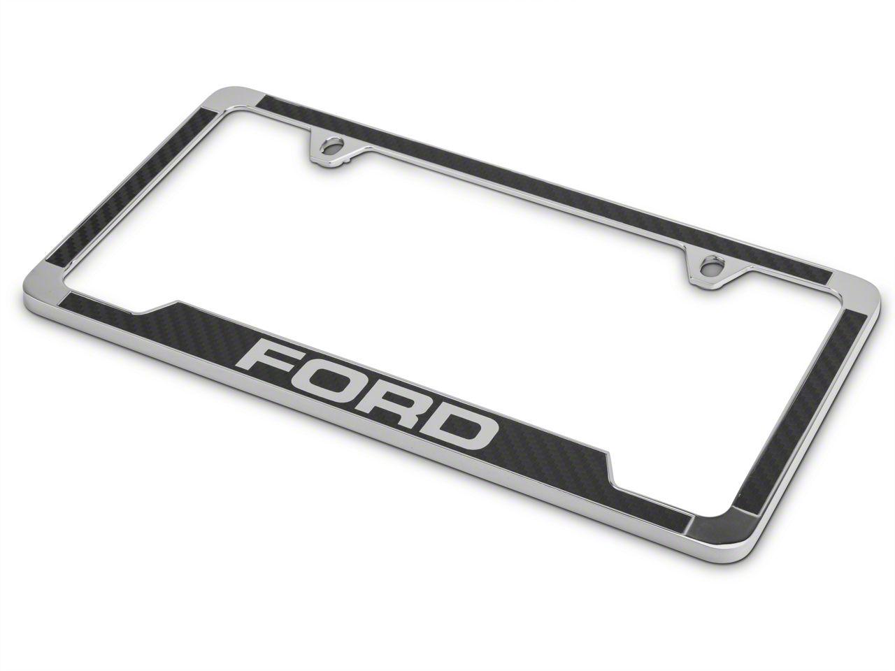 Ford License Plate Frame w/ Carbon Fiber Vinyl Insert (97-18 F-150)