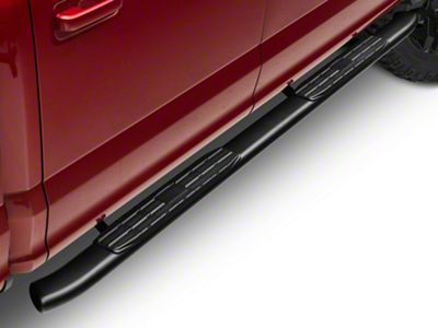 Barricade Pinnacle 4 in. Oval Bent End Side Step Bars - Textured Black (15-19 F-150 SuperCab, SuperCrew)