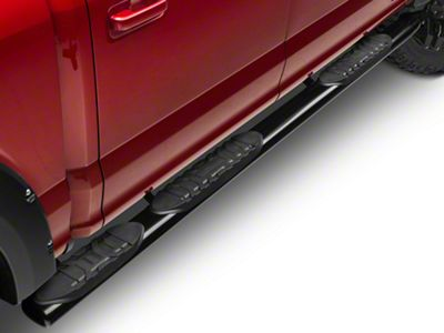Barricade 5 in. Oval Bent End Wheel to Wheel Side Step Bars - Black (15-19 F-150 SuperCab, SuperCrew)