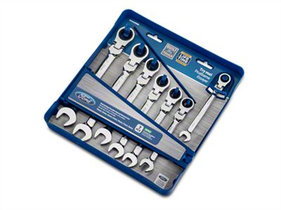 Flexible 7 Piece Geared Metric Wrench Set with Storage Tray