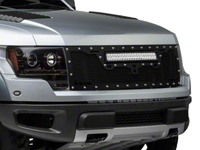 Royalty Core RCRX Race Line Upper Replacement Grille w/ 23 in. LED Light Bar - Satin Black (10-14 F-150 Raptor)