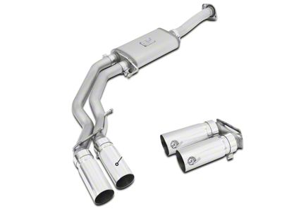 AFE Rebel Series 3 in. to 2.5 in. Dual Exhaust System w/ Polished Tips - Middle Side Exit (15-18 2.7L EcoBoost F-150)
