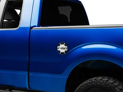 Defenderworx Non-Locking Fuel Door w/ F-150 Logo - Brushed Two Tone (09-14 F-150 Styleside)