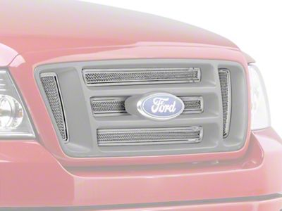 Liquid Mesh 6-Piece Upper Overlay Grille w/ Emblem Insert - Polished (04-08 F-150 FX4, STX, King Ranch)