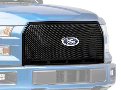 Black Horse Off Road Mesh Upper Overlay Grille - Black (15-17 F-150 XL)