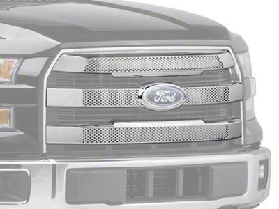 Black Horse Off Road Mesh Upper Overlay Grille - Chrome (15-17 F-150 Lariat)