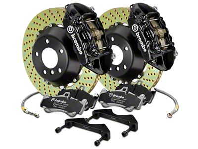 Brembo GT Series 4-Piston Rear Brake Kit - 15 in. Cross Drilled Rotors - Black (17-19 F-150 Raptor)