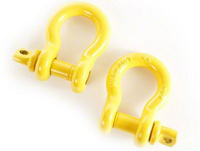 Rugged Ridge 3/4 in. Yellow D-Ring Shackles - Pair