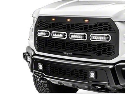 T-REX Revolver Series Upper Replacement Grille w/ 6 in. LED Light Bars - Black (17-19 F-150 Raptor)