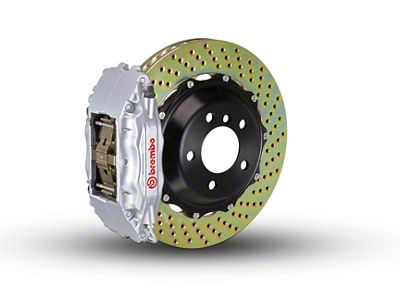 Brembo GT Series 4-Piston Front Brake Kit - 2-Piece Cross Drilled Rotors - Silver (97-03 4WD F-150)