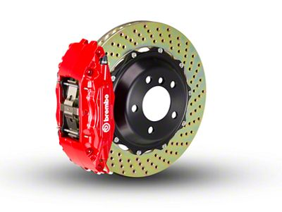 Brembo GT Series 4-Piston Front Brake Kit - 2-Piece Cross Drilled Rotors - Red (00-03 2WD F-150)