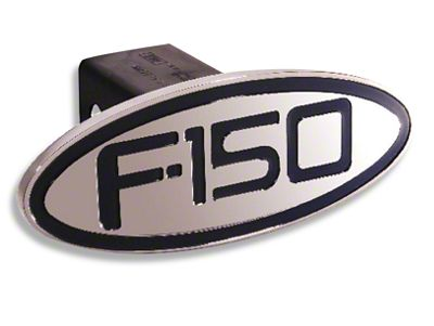 Defenderworx Billet Oval Hitch Cover w/ F-150 Logo - Black (97-19 F-150)