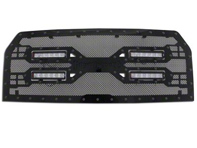 Royalty Core RC5X Quadrant Upper Replacement Grille w/ Four 12 in. LED Light Bars - Black (15-17 F-150, Excluding Raptor)