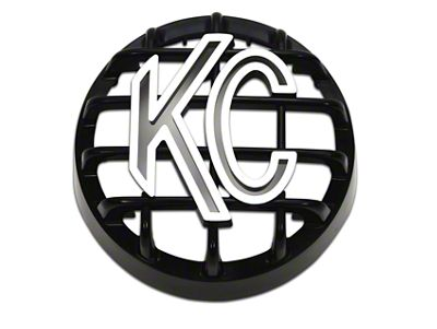 KC HiLiTES 4 in. Round Stone Guard for Rally 400 - Black w/ White KC Logo (97-18 F-150)