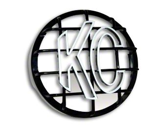 KC HiLiTES 8 in. Round Stone Guard for Rally 800 & Pro Sport - Black w/ White KC Logo (97-18 F-150)