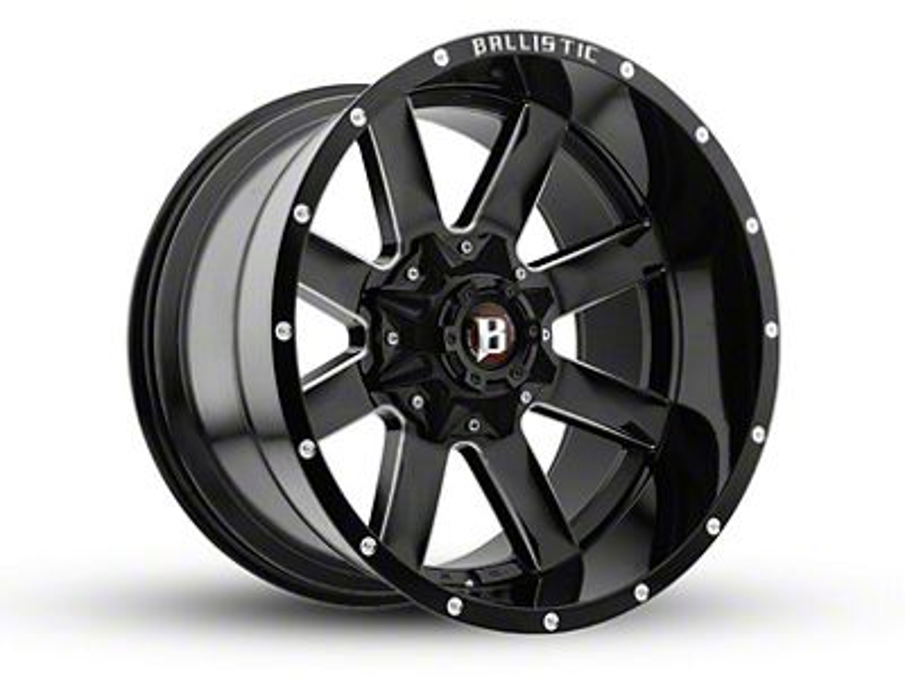 Ballistic Rage Gloss Black Milled 6-Lug Wheel - 20x12 (04-18 F-150)