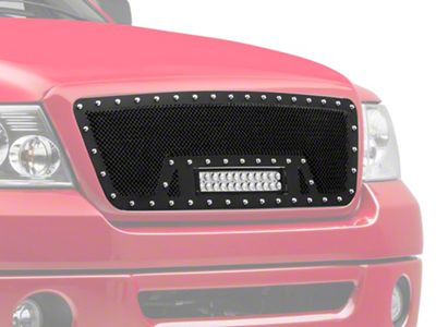 Modern Billet Wire Mesh Upper Grille Insert w/ Frame, Rivets & LED Light Bar - Black (04-08 F-150)