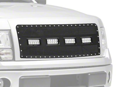Modern Billet Wire Mesh Upper Grille Insert w/ Frame, Rivets & LED Lighting - Black (09-14 F-150, Excluding Raptor)