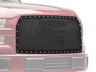 Modern Billet Wire Mesh Upper Grille Insert w/ Frame & Rivets - Black (15-17 F-150, Excluding Raptor)