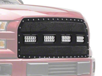 Modern Billet Wire Mesh Upper Grille Insert w/ Frame, Rivets & LED Lighting - Black (15-17 F-150, Excluding Raptor)