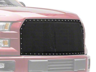 Modern Billet Wire Mesh Upper Replacement Grille w/ Rivets - Black (15-17 F-150, Excluding Raptor)