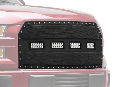 Modern Billet Wire Mesh Upper Replacement Grille w/ Rivets & LED Lighting - Black (15-17 F-150, Excluding Raptor)