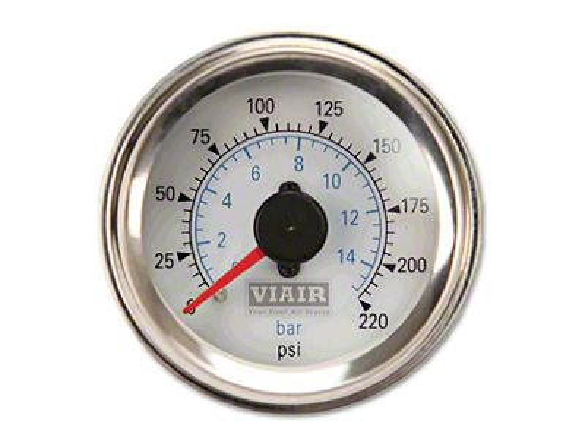 Viair Dual Needle Air Pressure Gauge - White Face (97-18 F-150)