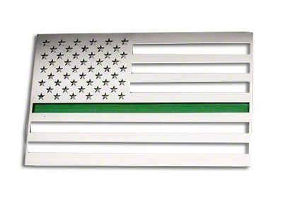 ACC Stainless Steel American Flag Emblem - Polished w/ Thin Green Line (97-18 F-150)