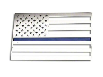 ACC Stainless Steel American Flag Emblem - Brushed w/ Thin Blue Line (97-18 F-150)