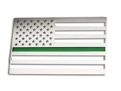ACC Stainless Steel American Flag Emblem - Brushed w/ Thin Green Line (97-18 F-150)