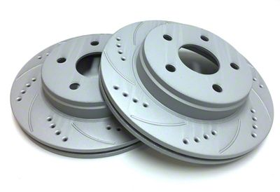 SP Performance Cross-Drilled & Slotted Rotors w/ Gray ZRC - Rear Pair (04-14 F-150; 15-18 F-150 w/ Manual Parking Brake)