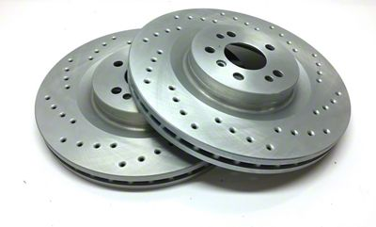 SP Performance Cross-Drilled Rotors w/ Silver Zinc Plating - Rear Pair (04-14 F-150; 15-18 F-150 w/ Manual Parking Brake)