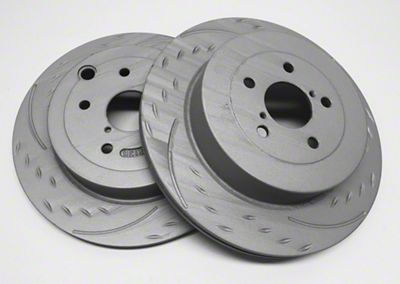 SP Performance Diamond Slot Rotors w/ Gray ZRC - Rear Pair (04-14 F-150; 15-18 F-150 w/ Manual Parking Brake)