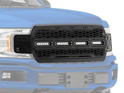 T-REX Revolver Series Upper Replacement Grille w/ Four 6 in. LED Light Bars - Black (18-19 F-150, Excluding Raptor)