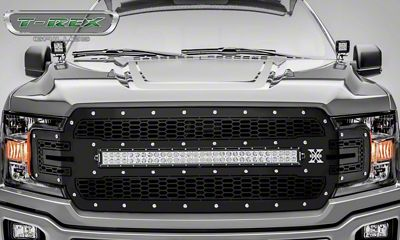 T-REX Laser Torch Series Upper Replacement Grille w/ 30 in. LED Light Bar - Black (18-19 F-150, Excluding Raptor)