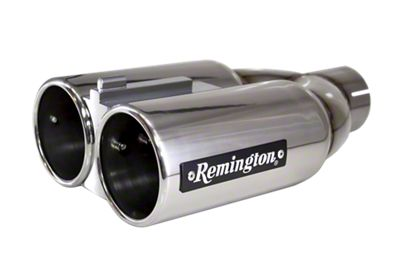 Remington Off-Road Dual 4 in. Double Barrell Exhaust Tip - Polished Stainless - 2.5 in. Connection (97-19 F-150)