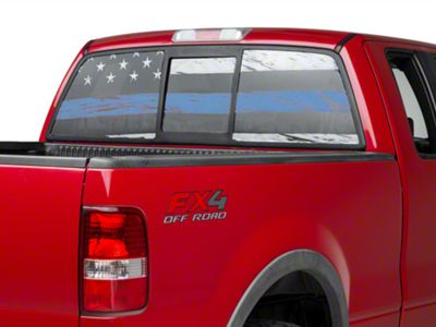 Perforated Real Flag Rear Window Decal w/ Blue Line (97-19 F-150)